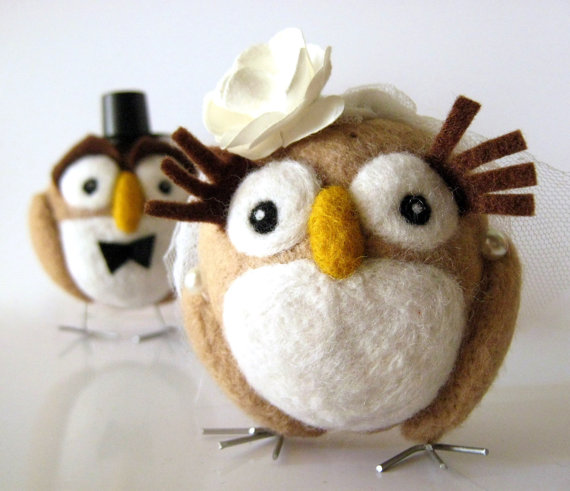 felt wedding cake topper owls