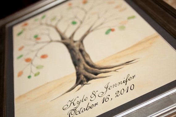 Vintage Fall Wedding - fingerprint guest book tree