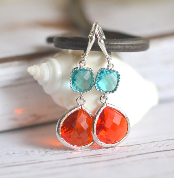 fire orange and aquamarine dangle earrings | via Best Aquamarine Jewelry Finds on Etsy - http://emmalinebride.com/bride/best-aquamarine-jewelry/