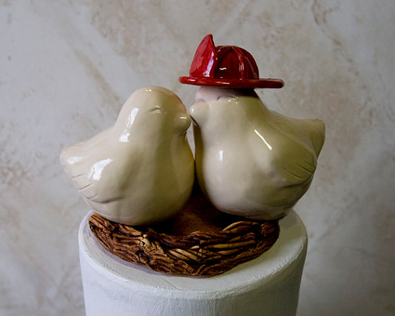 Love Bird Cake Toppers - Firefighter (by Dances With Clay)