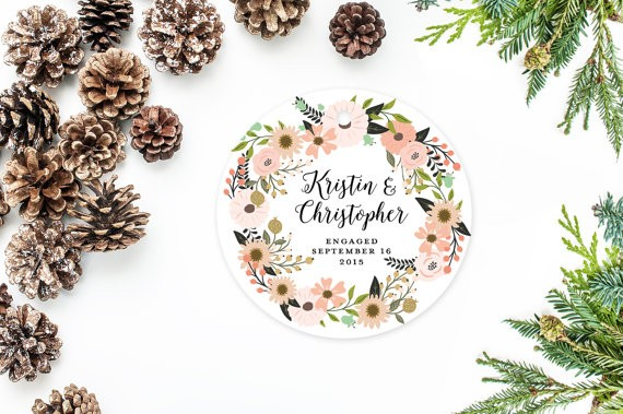 first christmas engaged ornament floral by MooseberryPaperCo