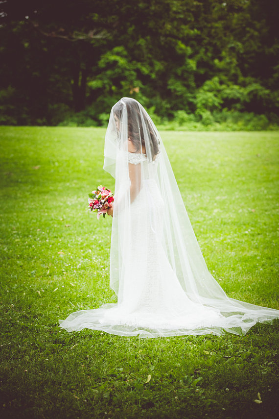 floor long length wedding veil