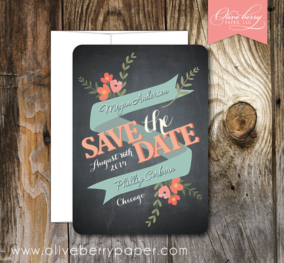 floral save the date cards via 10 Amazing Handmade Paper Decorations