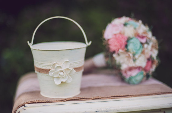 Flower Girl Pail (by PNZ Designs, photo by Melania Marta) - What Does a Flower Girl Do? via EmmalineBride.com
