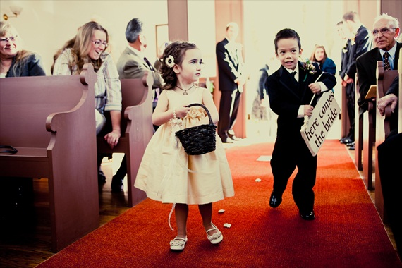 Vintage Fall Wedding - flower girl and ring bearer walking down the aisle