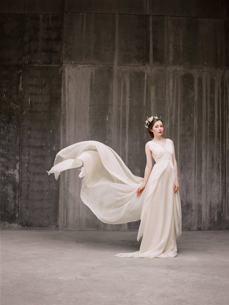 flowy chiffon wedding dress