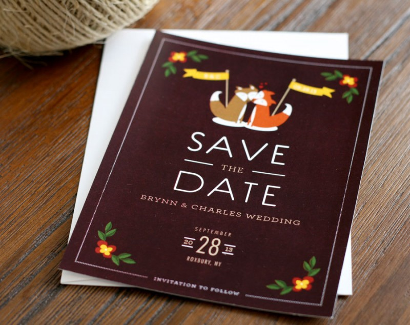 fox chalkboard save the dates by dea and bean