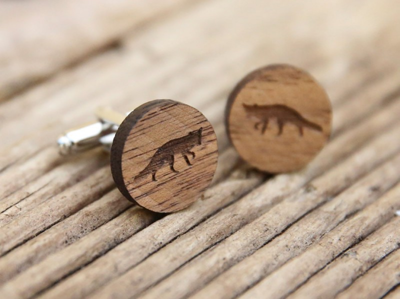 fox cufflinks made of wood by the laser co
