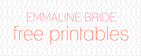 Free Wedding Printables via EmmalineBride.com