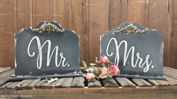 free standing chair signs | via bride and groom chair signs http://emmalinebride.com/decor/bride-and-groom-chairs/