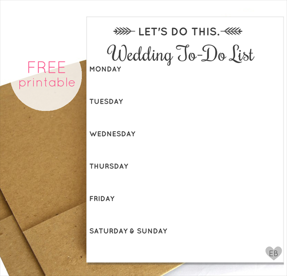 free wedding to do list printable - lets do this via emmalinebride