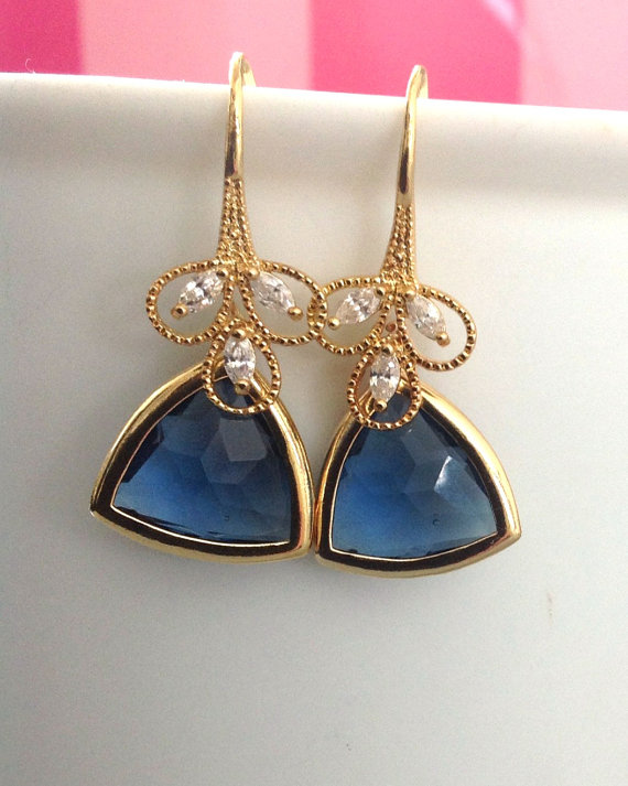 geometric wedding blue drop earrings