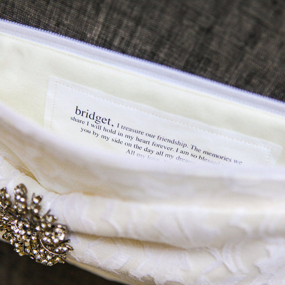 Gift for Bridesmaids - Bow Clutches by Brighter Day with Custom Message Note Sewn Inside