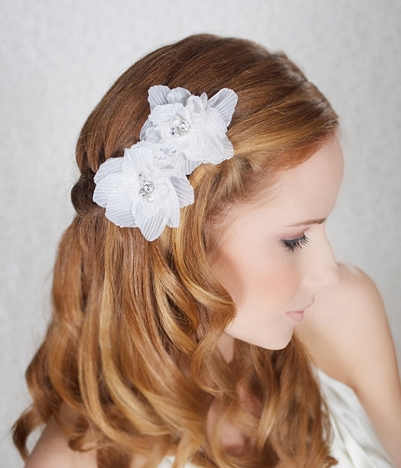 handmade wedding floral hair clips (gilded shadows) via The Marketplace at EmmalineBride.com