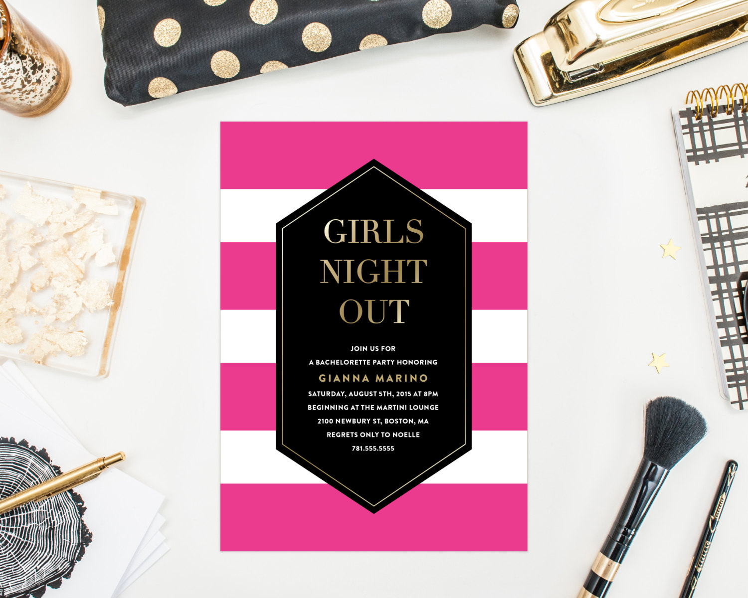 girls night out bachelorette party invitation by fine and dandy paperie | fun bachelorette party ideas | https://emmalinebride.com/planning/fun-bachelorette-party-ideas/