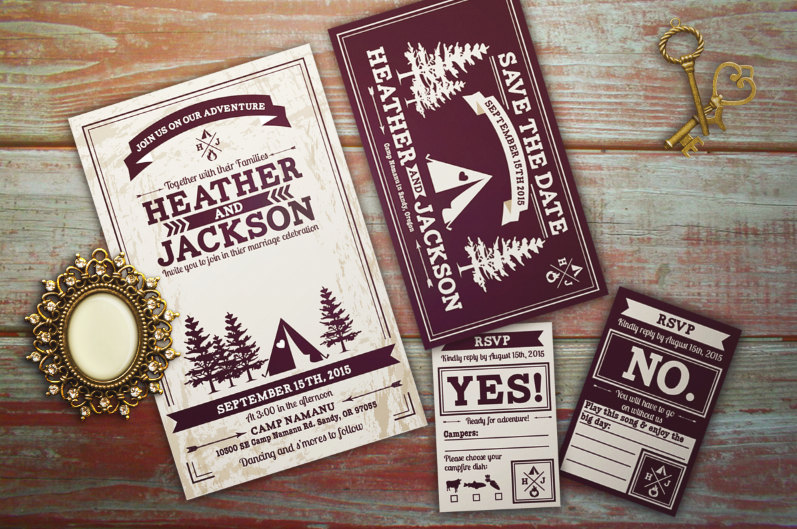 Glamping / Camping Inspired Rustic Wedding Invitations by B. Hampton Design | etsy boho weddings | http://emmalinebride.com/bohemian/etsy-boho-weddings/