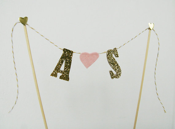 glitter cake topper with felt heart