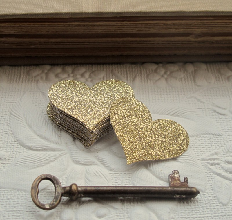 glitter hearts confetti rustic chic by JoBlake | rustic chic wedding ideas