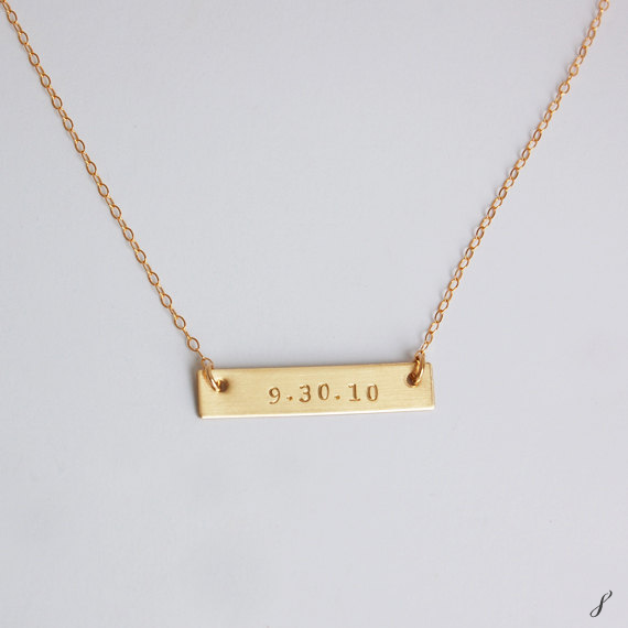 gold bar special date necklace