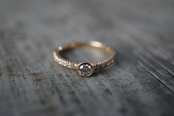 gold bezeled diamond engagement ring | Engagement Rings Etsy | via http://emmalinebride.com/jewelry/40-best-handmade-rings-ever/ ‎