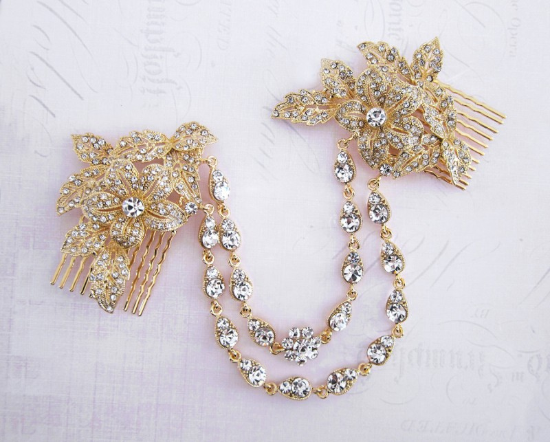 gold bridal hair chain | bridal hair chain | via http://emmalinebride.com/bride/bridal-hair-chain/