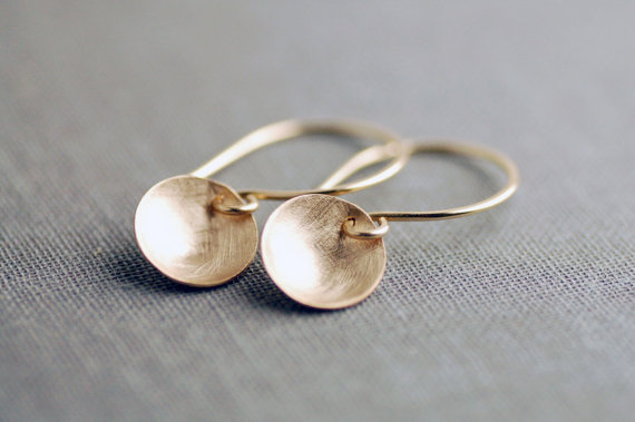 handcrafted jewelry (by lily emme jewelry) - brushed gold dome earrings