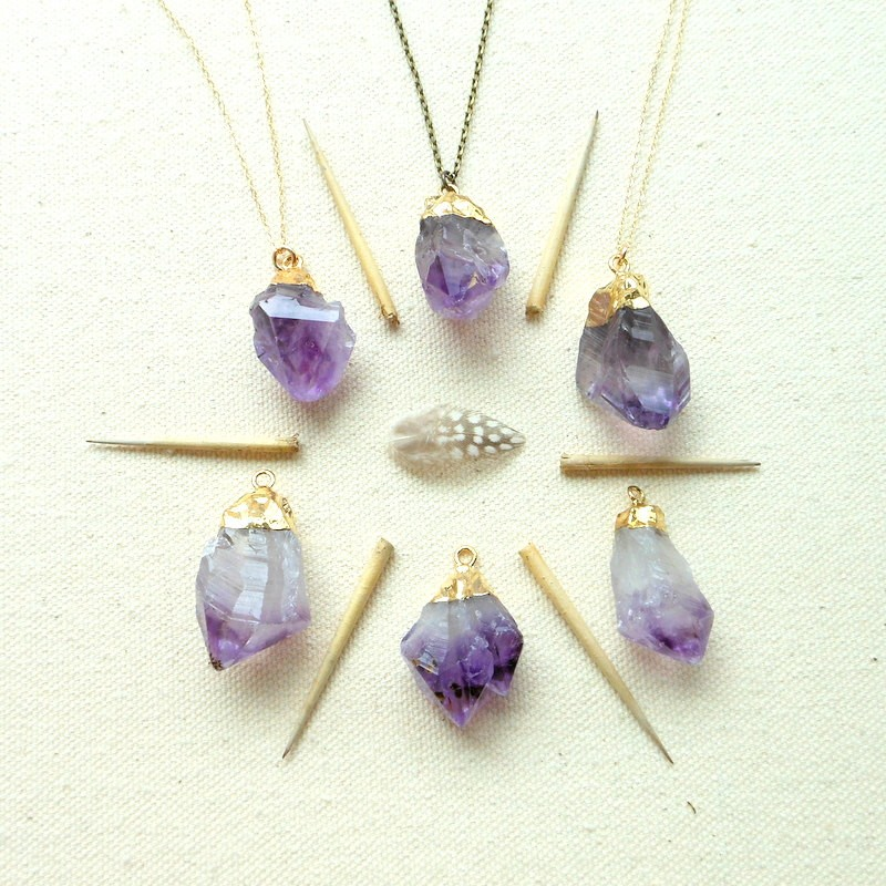 gold dipped amethyst necklaces by gypsy tribe jewelry