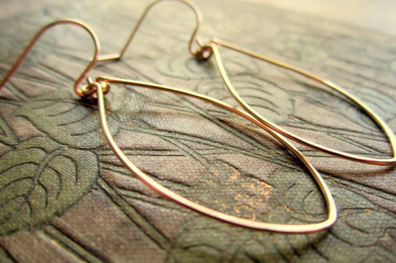 Gold Wedding Inspiration - leaf earrings (banana grove designs)