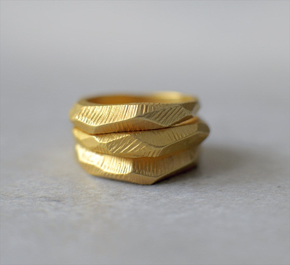 gold geometric wedding band