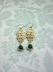 gold and green earrings - moroccan wedding jewelry