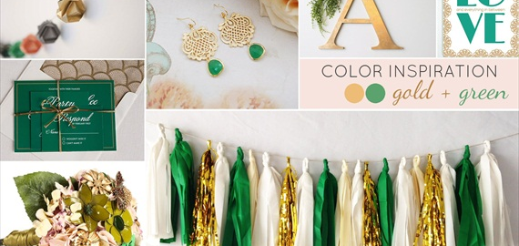 gold green wedding colors board