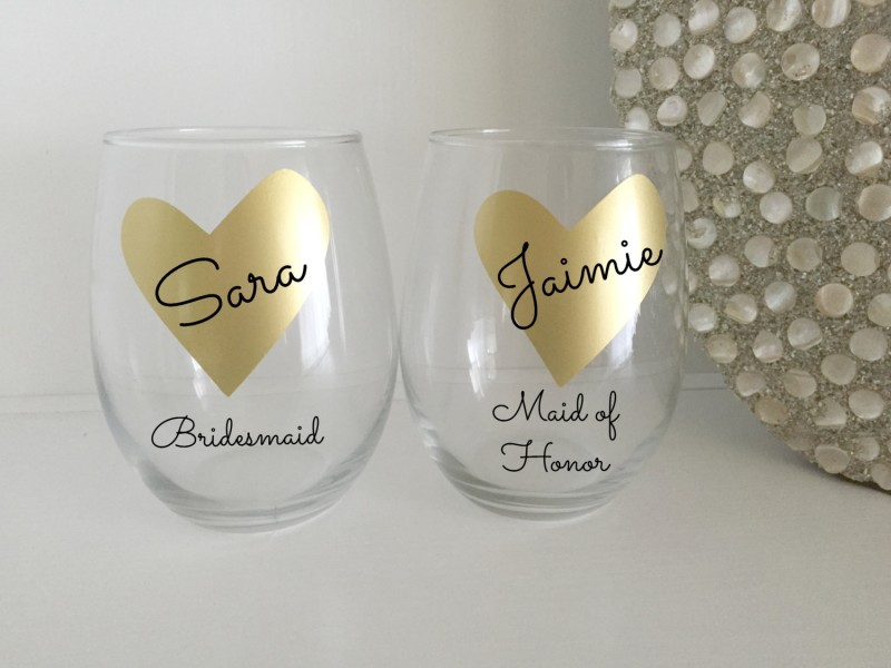 gold heart wine glasses personalized bridesmaids