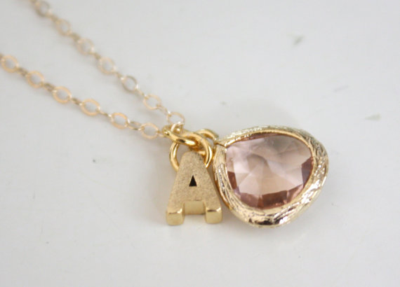 gold initial necklace with pendant   Wear Again Bridesmaid Necklaces by Ava Hope Designs from EmmalineBride.com