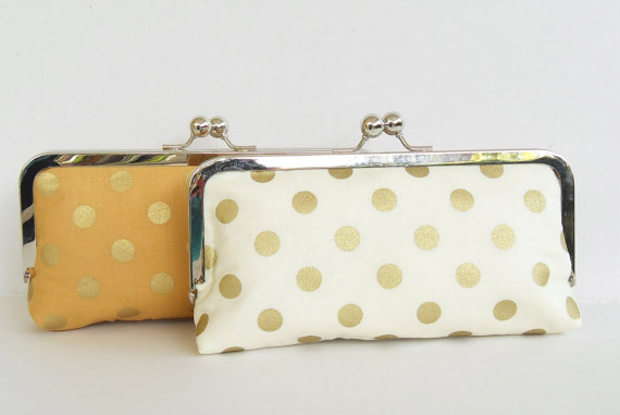 Gold inspired wedding clutch purse with polka dots.  This clutch by Paper Flora is one you'll love to carry on your wedding day - and beyond!  Great gift idea for bridesmaids, too. #handmade #wedding #gold