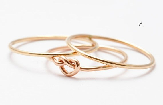 gold knot stacking rings