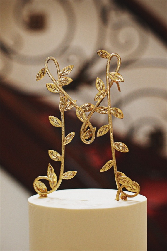 gold leaf cake topper