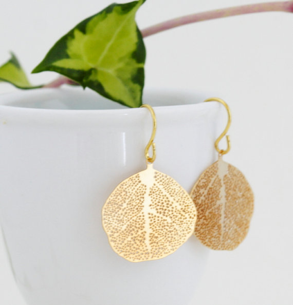 handmade wedding gold leaf earrings (jacaranda designs) via The Marketplace at EmmalineBride.com