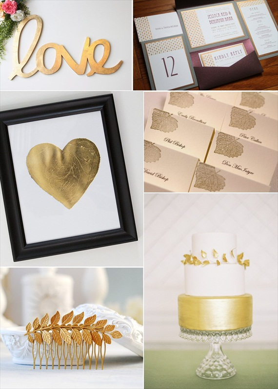 Gold Inspired Wedding Roundup:  Check out the gold leaf sign, invitations, gold leaf heart print, gold leaf wedding cake, and more.  Via EmmalineBride.com.