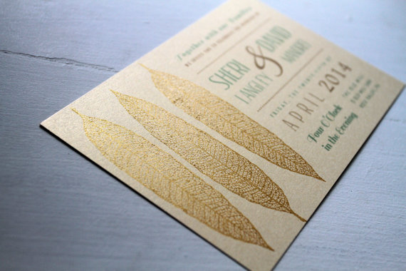 Gold inspired wedding save the dates by Golden Silhouette.  If you're planning a gold inspired wedding, send these save the date cards to kick off your day with a thematic touch.