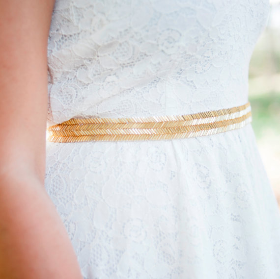 gold metallic bridal sash belt