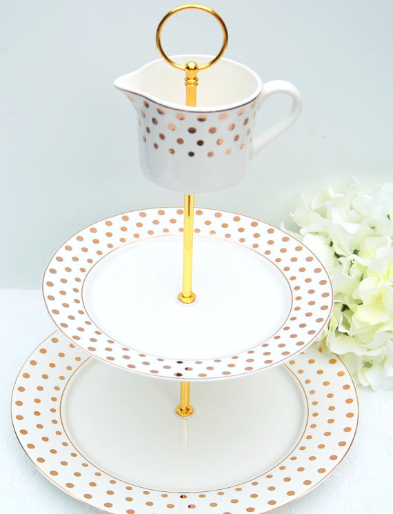 gold polka dot cake stand | via polka dot wedding ideas http://emmalinebride.com/themes/polka-dot-wedding-ideas-handmade/