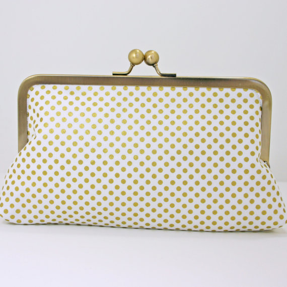 Gold Wedding Inspiration (polka dot clutch purse in gold: southern beaus)
