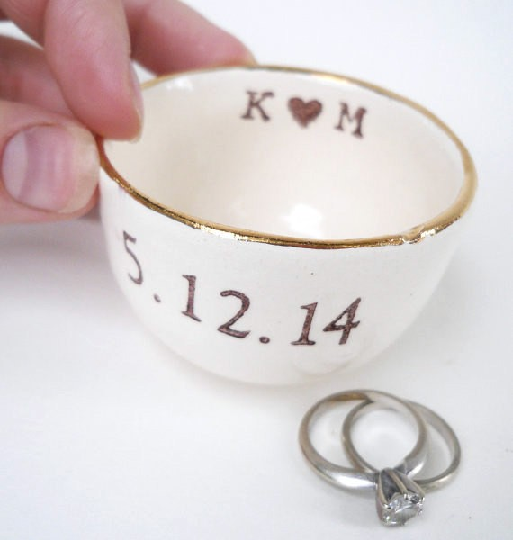 ring dish with initials | via Rustic Ring Pillows http://emmalinebride.com/ceremony/rustic-ring-pillows/