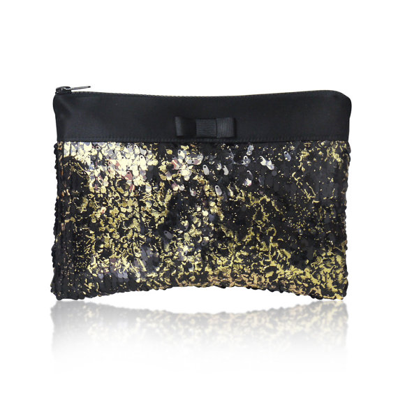 gold sequin and black wedding party bags