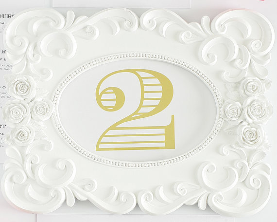 gold table numbers shine wedding invitations