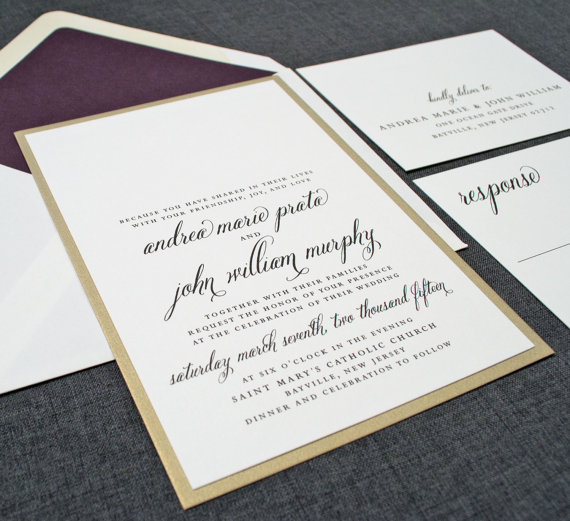 Cream and Gold Wedding Ideas: gold wedding invitations (by Cricket Printing) width=