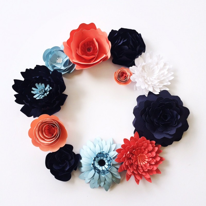 gorgeous paper flowers in navy and coral