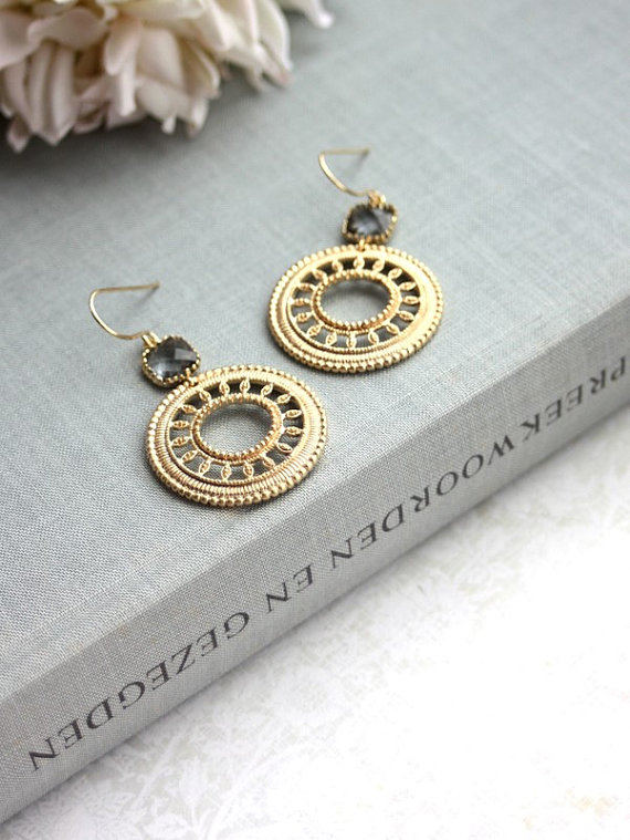 round gold earrings - moroccan wedding jewelry