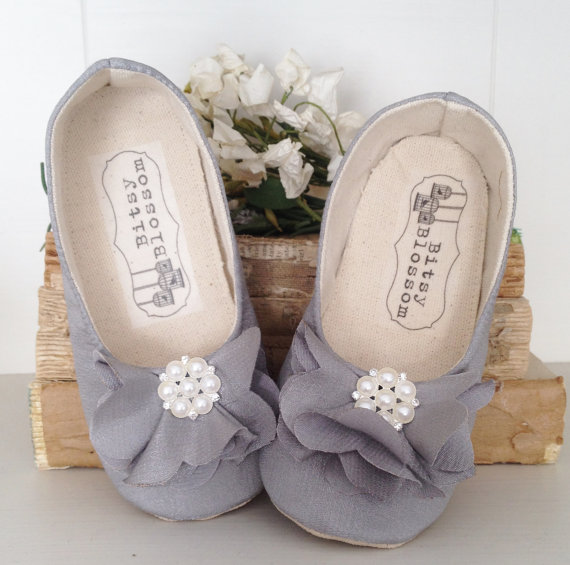 gray flower girl shoes with rhinestone flower