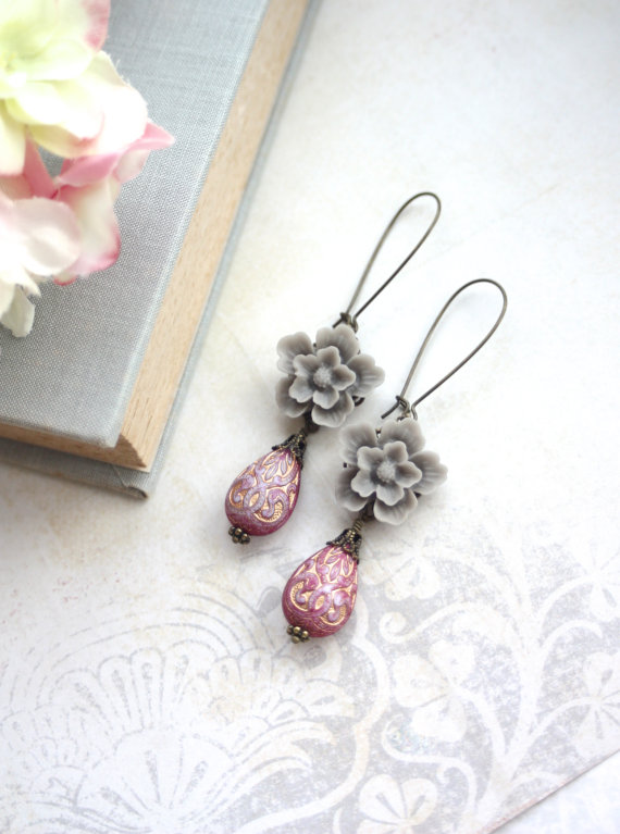 pink and gray earrings - moroccan wedding jewelry